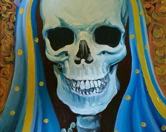 La Santa Muerte ( n* 9 ) A3 Print from Original Oil Painting Folk Art Only Death Mexican Art Day of the Dead