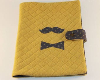 Health booklet protection cover quilted Jersey boy appliqué so british banana/ink color!