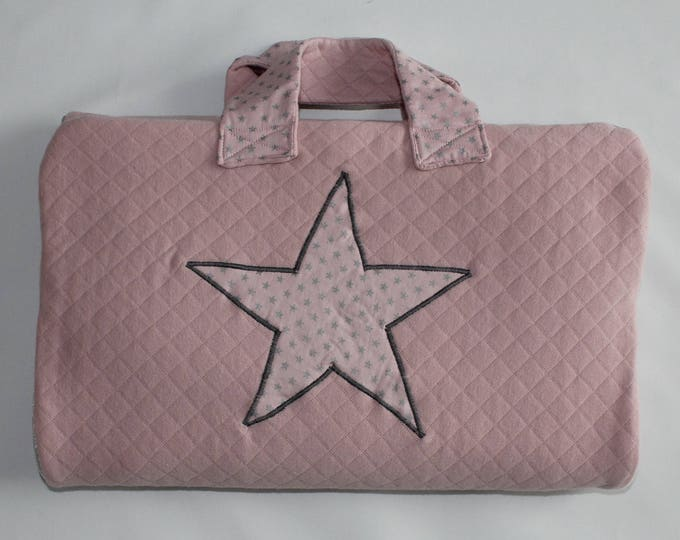 Changing table Nomad mustache mixed baby 0-24 months pink and silver quilted Jersey