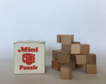 puzzle solid hardwood the mini cube perplexing puzzle vintage wood challenge puzzle games brain teaser mini cube puzzle made in Japan puzzle