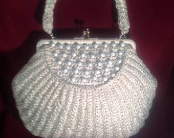 1950s Cream Raffia Woven Handbag / Purse  with white Beaded details on the front and back