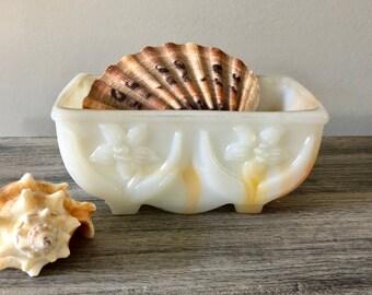 AKRO Slag Glass Lily Dish Orange and White
