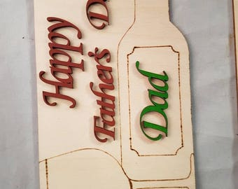 "Birchwood handmade fathers day birthday sign.This unquie ""happy fathers day Dad""design With pyrgraphic wine bottle and glass lazer cut words"