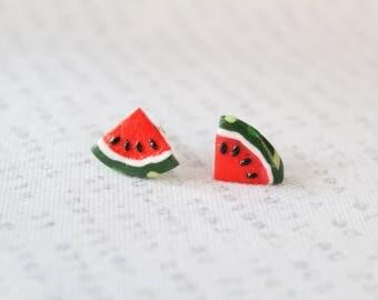 Watermelon earrings charm fruit summer silver 925 stud post earring vegan melon jewerly food melon gift for women girls for her for mom