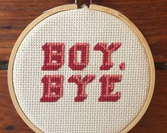 Boy, Bye cross stitch