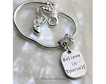 Believe In Yourself Bracelet Personalize Birthstone Crystal Dangle Silver Charm Bracelet Believe In Yourself Inspirational Gift For #CBR1122