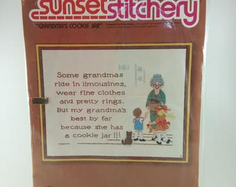 Embroidery Kit | Grandma's Cookie Jar Stitchery Kit, Crewel Kit, Vintage Embroidery Sunset Stitchery, Wool Needlepoint, Completed Embroidery