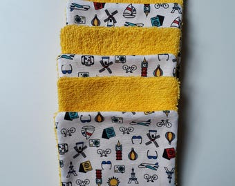 Yellow printed cotton Terry travel wipes