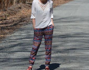 Sale $ 10! Trousers light patterns Aztecs /Boho 90' X-Small