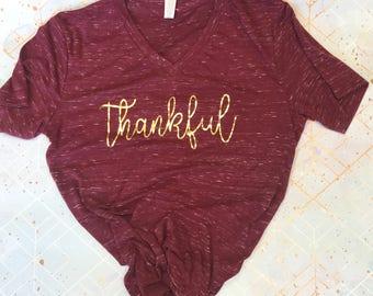 Thankful Unisex T-Shirt, Thanksgiving Shirt, Thankful Shirt, Grateful, Holiday Shirt
