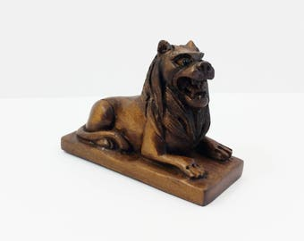 Vintage Large Hand Carved Dark Wood Lion Statue Netsuke Animal Figurine - Handcarved -