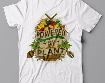 Funny T-shirt Powered By Plant - Vegan vegetarian gift idea