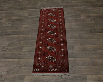 Charming Runner Wool Tribal Red Turkoman Persian Area Rug Oriental Carpet 2X6