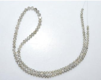 "50% OFF Exclusive AAA Quality Natural White Diamond Faceted Rondelle Beads ,String In Wire ,Natural Diamond, 3-4.50 mm , 14"" - DD123"