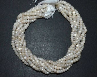 """50% OFF 1 Strand Natural White Moonstone AB Silver Coated Faceted Rondelle - Moonstone AB Silver Coated Beads, 5.50 - 5.75 mm, 13""""- Mc174J"""