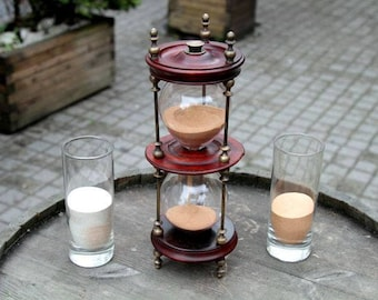 Sand ceremony /Wedding sand ceremony/Hourglass,hand blown glass,brass,home decor and furniture, restored artifacts