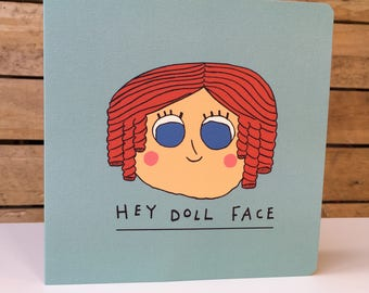 DollFace - Square Greetings Card