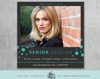 SALE! Senior Session, Senior Marketing Board, Senior Template for Photographers, Session Template, Senior Photography, Photoshop, PSD file