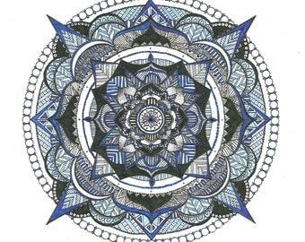 Mandala Zentangle Drawing Prints - Blue and Black