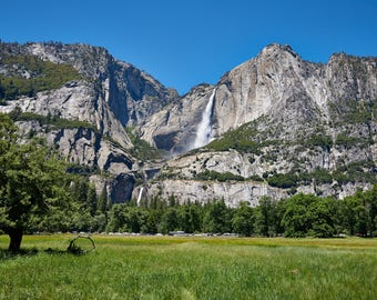 Upper and Lower Yosemite Falls And Meadow, Yosemite National Park, Fine Art Photographic Print