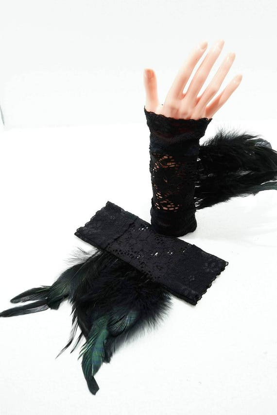 Gothic Black Lace Gloves with feathers / lace cuffs with feathers