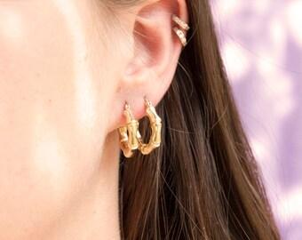 Bamboo - creole - gold hoop earrings - gold hoops - thick hoop earrings - sterling silver - big hoops - creole earrings - creoles - A14825