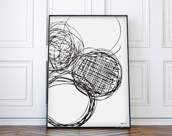 "Minimal Art Print    Black and White   Modern poster   Handdrawn   WzoryKolory   ""Handdrawn circles 12"""