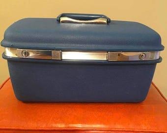 On Sale Vintage samsonite traincase suitcase blue traincase makeup case luggage carryon travel bag overnight case Saturn blue storage decor