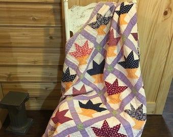 On Sale Vintage handmade quilt, antique quilt, handstitched quilt, hand sewn, old quilt, bedspread, decor