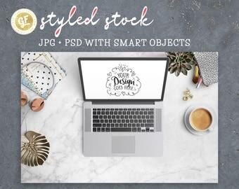 Laptop mockup Styled Desktop Scene with neutral colours | Stock Photo | JPG and PSD  | Blog Social Media Artist | Modern & Feminine 26-0016