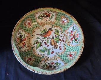 Vintage Daher Metal Tin Floral Green Bird Rounded Bowl Tray Made  in England  1516