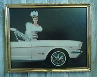 Ford Mustang advertising - Vintage advertising - Ford Mustang gift - Gold metal frame - Vintage frame - Ford Mustang - Vintage cars - Retro