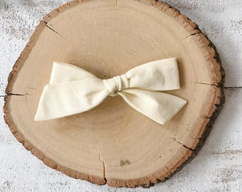 Light Yellow Bow - School Girl Bows - Baby Bow - Toddler Clip - Baby Headband - Handmade Bow- Pigtail Set- Easter Bow- Pale Yellow Bow