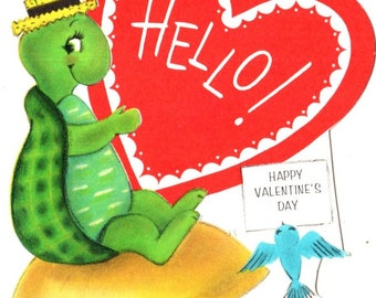 Turtle Sitting on Mushroom Vintage Valentine's Day Greeting Card 1960's
