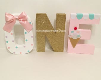 One letters,8inches,paper mache letters,ice cream letters,ice cream birthday party,ice cream first birthday,ice cream party decorations,