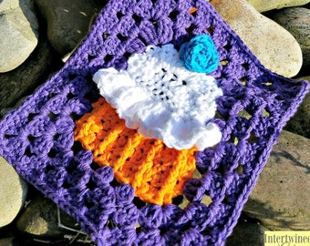 Crochet Cupcake Granny Square Dishcloth / Mug Rug/ Trivet PATTERN PDF instant digital download