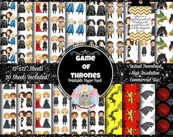 GAME OF THRONES Digital Paper, Game of Thrones Party, Game of Thrones Clipart, Game of Thrones Clip Art, Game of Thrones Baby, Digital Fabri