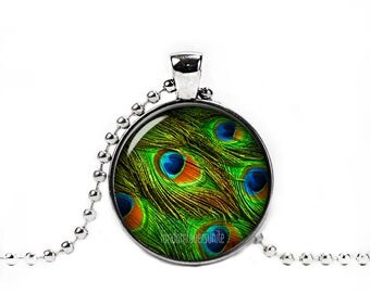 Peacock Feather Necklace Peacock Feather Pendant Peacock Necklace Glass Dome