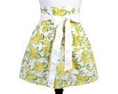 Womens Flirty Retro Half Apron in Obi Design of Lemons on White with Two Large Lined Pockets