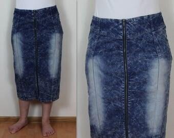 Vintage Denim Skirt Acid Wash Jean Skirt Pencil Denim Skirt Midi Jean Skirt Large/XL Size