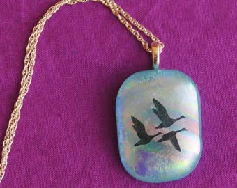 Iridescent Jewelry/ Summer Jewelry/Iridescent Necklace/ Iridescent Pendant/Sterling Chain/ Jewelry with Birds/Ducks