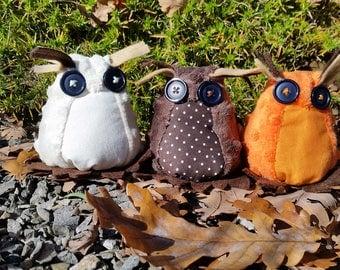 Three Cute Handmade plush Owls pick your colours  Christmas owl decoration