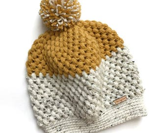 The Cozy Knot Signature Hat // Puff Pom Two-Tone Slouchy Beanie // Women's Crochet Slouchy Hat