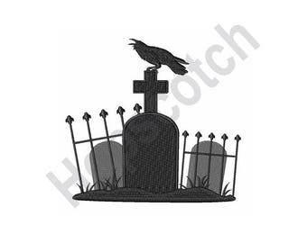 Halloween Graveyard Crow - Machine Embroidery Design, Cemetery