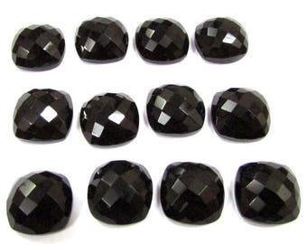 5 Pieces 12mm Black Onyx Checker Faceted Cushion Bottom Flat Gemstone, Black Onyx Cushion Faceted Checker Cabochon Gemstone
