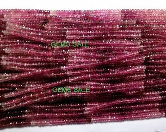 "4mm - 4.5mm Pink Tourmaline Shaded Faceted Beads AAA++ quality Natural Gemstone Faceted Rondelle Beads full 14"" strand Tourmaline Beads"