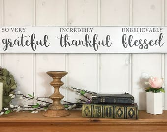 Grateful thankful blessed sign | rustic wood sign | fall wall decor | thankful sign | inspirational wood sign | 36x5.5