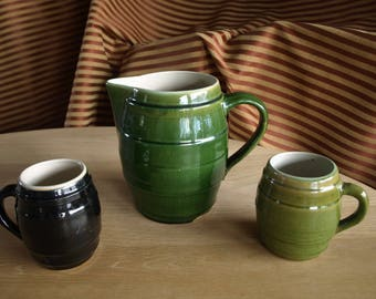 Antique / Vintage Barrel Shaped Primitive Stoneware Pitcher and Mugs with Green and Black Glaze