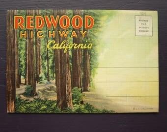 Vintage Redwood Highway California Souvenir Foldout Folder Postcards