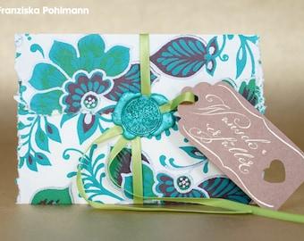 Medium Coupon-Wunscherfüller (floral print, Life tree Turquoise)